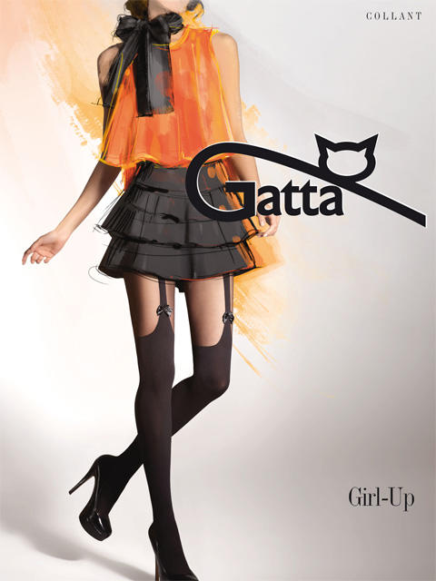 Колготки GIRL UP 18 Матовые фантазийные колготки с комфортным широким поясом, плоскими швами и ластовицей, украшенные имитацией непрозрачных чулок с подвязками и бантиками.