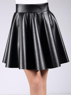 Юбка CIRCLE SKIRT leather 01